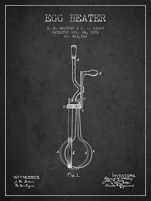Egg Beater Patent From 1891 - Dark Print by Aged Pixel