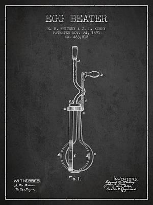 Egg Beater Patent From 1891 - Dark Art Print