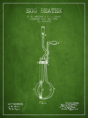 Egg Beater Patent From 1891 - Green Print by Aged Pixel