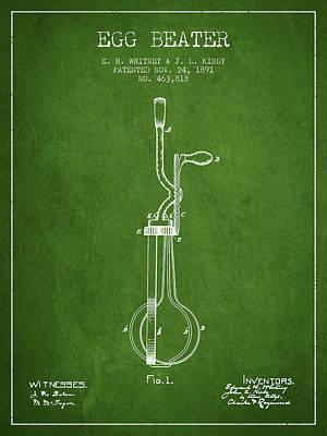 Egg Beater Patent From 1891 - Green Art Print