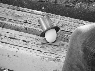 Bench Photograph - Egg In A Tophat by Jon Lacelle