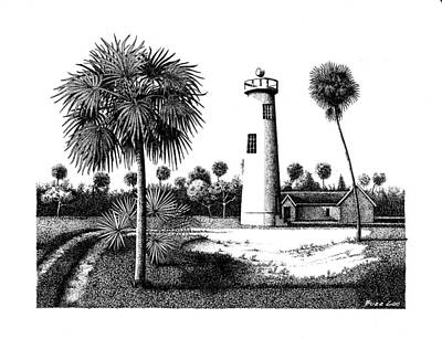 Drawing - Eggmont Key Lighthouse  by Buzz Coe