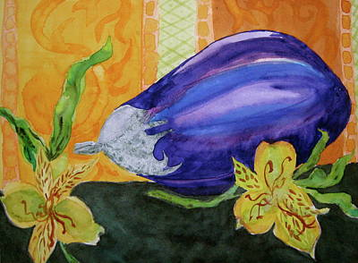 Art Print featuring the painting Eggplant And Alstroemeria by Beverley Harper Tinsley