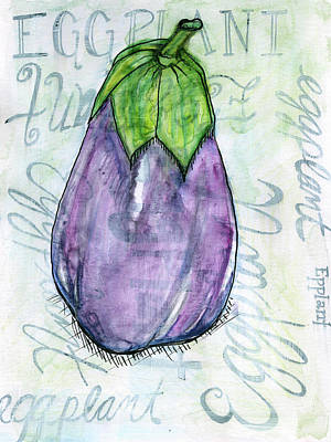Kitchen Watercolor Painting - Eggplant by Anne Seay