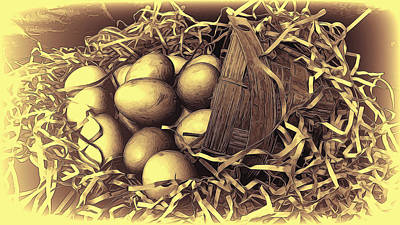Mixed Media - Eggs In A Basket 2 by Pamela Walton