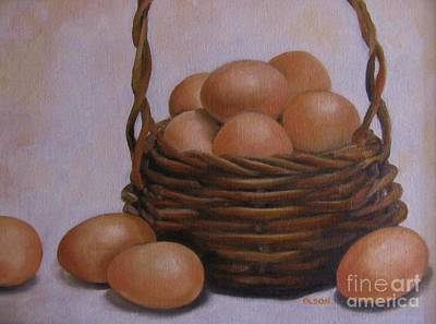 Painting - Eggs In A Basket by Karen Olson