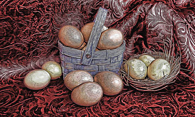 Mixed Media - Eggs In A Basket by Pamela Walton