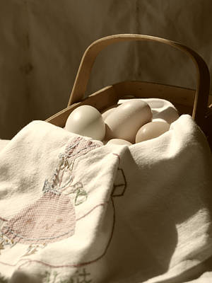 Photograph - Eggs In A Basket Sepia by MM Anderson