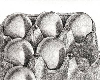 Drawing - Eggs In Carton  by Kazumi Whitemoon