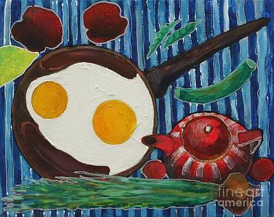 Naturmort Painting - Eggs by Nata Potyomkin