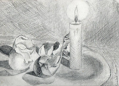 Still Life Drawings - Eggshells in Candlelight by Genevieve Esson