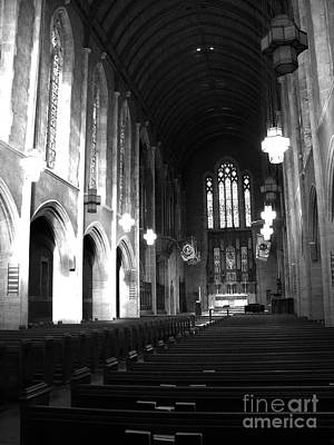 Photograph - Egner Memorial Chapel - Black And White - Muhlenberg College by Jacqueline M Lewis