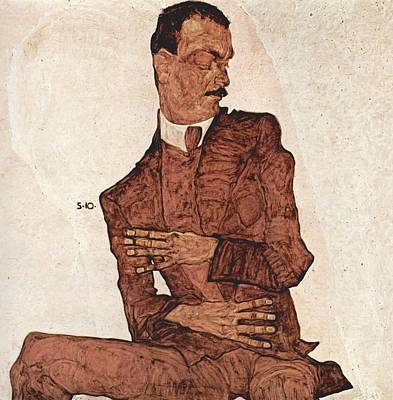 Distortion Painting - Portrait Of A Man by Egon Schiele