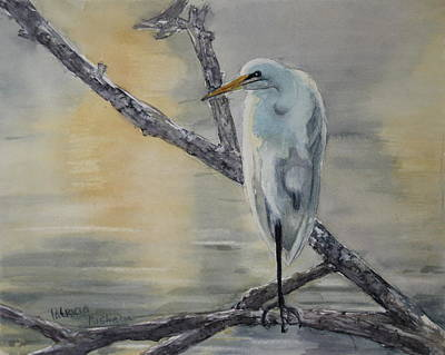 Egret Painting - Egret At Dusk by Patricia Pushaw
