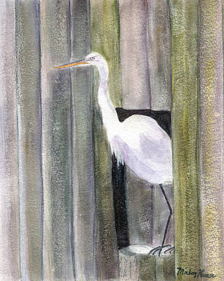 Painting - Egret At John's Pass by Mickey Krause