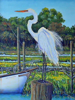 Isle Of Palms Painting - Egret At Shem Creek Docks  by Dwain Ray