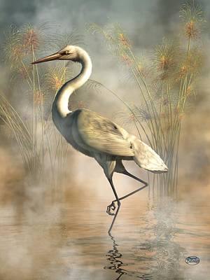 Stork Digital Art - Egret by Daniel Eskridge