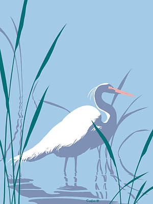 Florida Birds Painting - abstract Egret graphic pop art nouveau 1980s stylized retro tropical florida bird print blue gray  by Walt Curlee