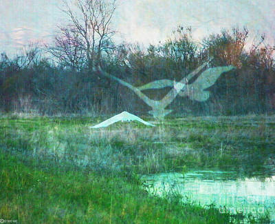 Digital Art - Egret In Retreat by Lizi Beard-Ward