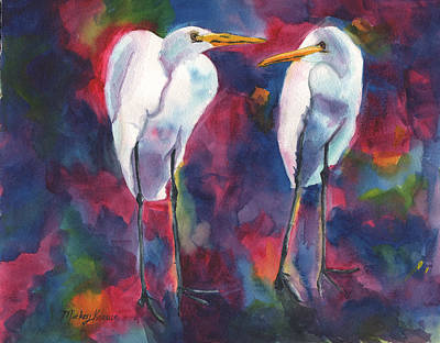 Painting - Egret Lovers by Mickey Krause