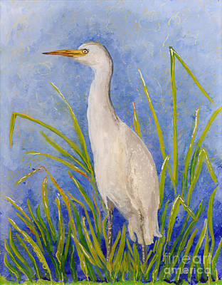 Reverse Acrylic On Plexiglass Painting - Egret Morning by Anna Skaradzinska