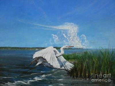 From New Orleans Painting - Egret Over La. Marsh Near New Orleans by Ralph Songy