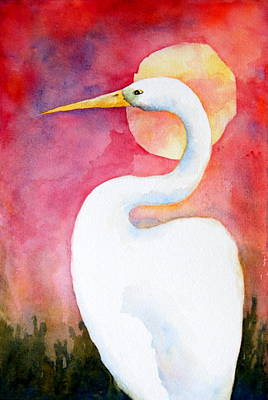 Rosedahl Painting - Egret Sunset by Sarah Rosedahl