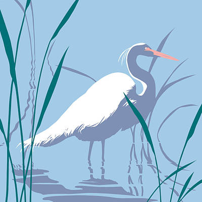Marsh Scene Painting - Egret Tropical Abstract - Square Format by Walt Curlee