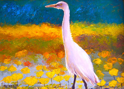 Egret Painting - Egret Water Bird by Jan Matson
