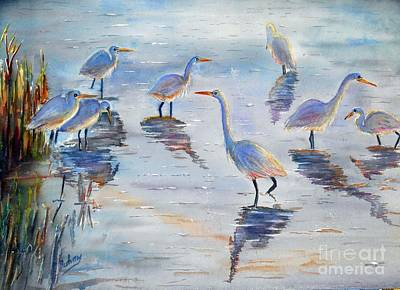 Egret Painting - Egrets At Malibu Lagoon by Patricia Pushaw
