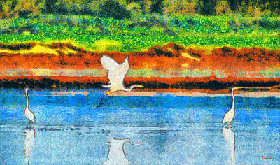 Flowers Painting - Egrets by George Rossidis
