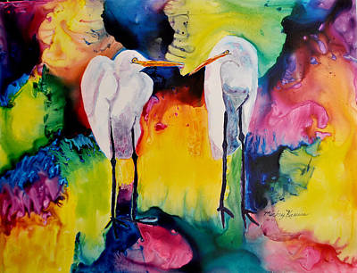 Painting - Egrets In Love by Mickey Krause