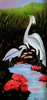 Lilly Pond Painting - Egrets In Paradise by Janis  Tafoya