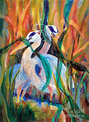 Egrets In Red 2            Art Print by Kathy Braud