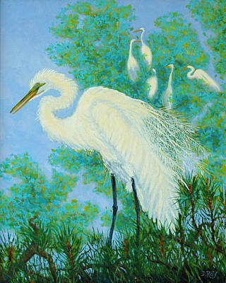 Egrets In Rookery - 20x16 Art Print by Dwain Ray