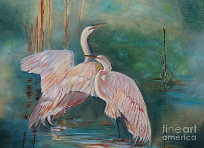 Egrets In The Mist Art Print