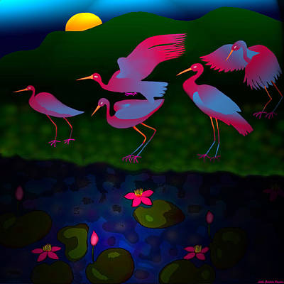 Egret Digital Art - Egrets by Latha Gokuldas Panicker