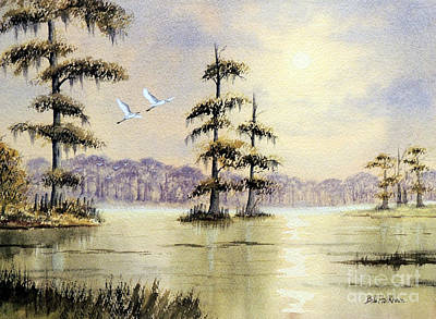 Painting - Egrets Over Wakulla Springs by Bill Holkham