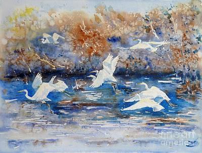 Egret Watercolor Artists Painting - Egrets by Zaira Dzhaubaeva