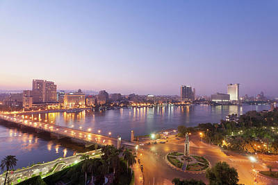 Egypt, Cairo, View Of Bridge With River Art Print by Westend61