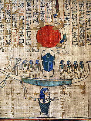 Papyrus Painting - Egypt Khepera by Granger