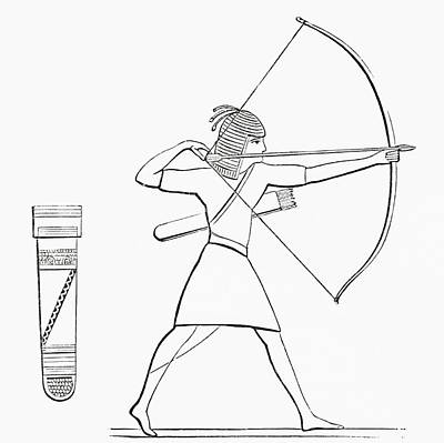 Ancient Egyptian Photograph - Egyptian Archer And Quiver.  From The Imperial Bible Dictionary, Published 1889 by Bridgeman Images