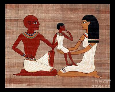 Painting - Egyptian Family Print by Pet Serrano