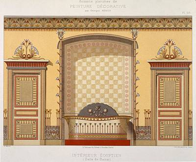 Exotic Drawing - Egyptian Interior , From Interior by Georges Remon