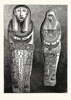 Egyptian Mummy Drawing - Egyptian Mummy And Case In The British Museum by Egyptian School