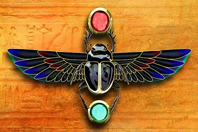 Ancient Symbols Digital Art - Egyptian Scarab Beetle by John Wills