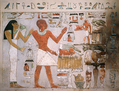 Hieroglyphics Painting - Egyptian Wall Fragment From The Tomb Of Amenemhet And Wife Hemet by Mountain Dreams