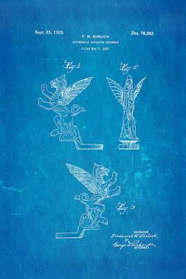 Ehrlich Hood Ornament Patent Art 1928 Blueprint Art Print by Ian Monk