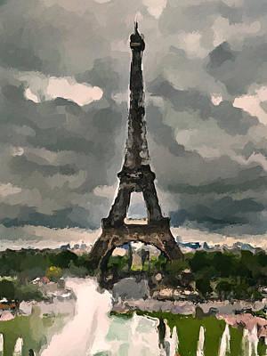 Digital Art - Eiffel In Clouds by Yury Malkov