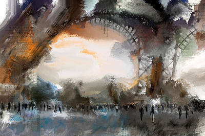 Paris Skyline Royalty-Free and Rights-Managed Images - Eiffel Paris France by Evie Carrier